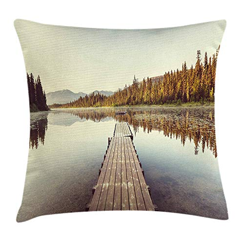 Fall Throw Pillow Cushion Cover, Wooden Pier on The Lake Serene Morning in The Woods Fishing Misty Recreational Image, Decorative Square Accent Pillow Case,Multicolor 20x20inch