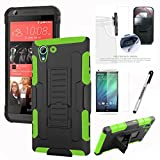 HTC DESIRE 530 Case, Phonelicious HTC DESIRE 530 / 626/626S Xtreme Heavy Duty Hybrid Armor Dual Layer Rhino Kickstand Belt Holster Clip Combo Rugged Case Tuff + Screen Protector & Stylus(GREEN TANK)