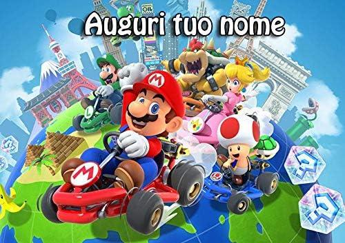mario004 Cialda per Torta Senza GLUTINE Rettangolare 21x29,7 cm Super Mario Bros