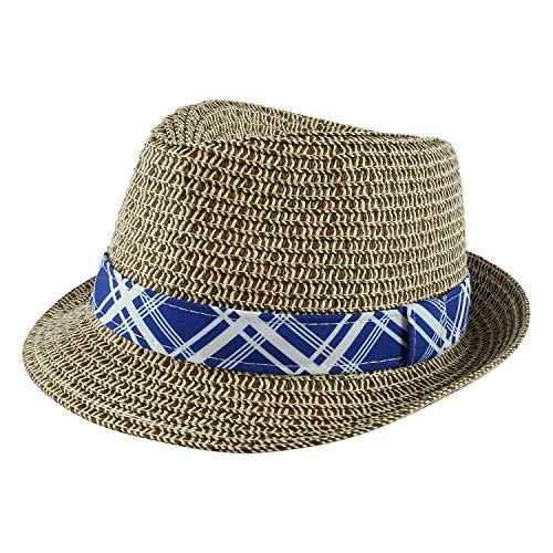 Paek 2 Peak Unisex Kids Straw Trilby Fedora Cap Felt Fedora Hat Short Brim Sunhat (Toddler, Brown)