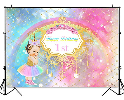Mehofoto Royal Princess 1st Birthday Backdrop Little Unicorn Rainbow Glitter Photography Background 7x5ft Vinyl Baby Girl's First Birthday Party Backdrops Banner -