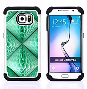 - lantern teal green 3d art polygon/ H??brido 3in1 Deluxe Impreso duro Soft Alto Impacto caja de la armadura Defender - SHIMIN CAO - For Samsung Galaxy S6 G9200