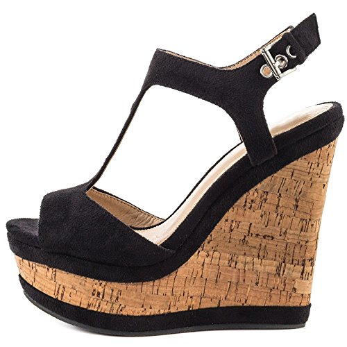 (MERUMOTE Women's Wedges Sandals High Platform Open Toe Ankle Strap Shoes Black 7.5 US)