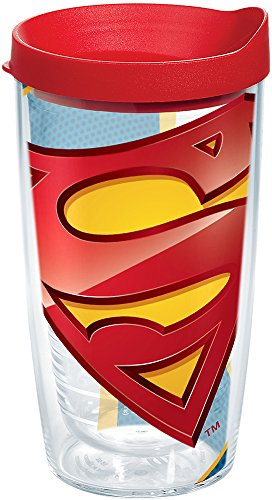 Tervis 1147255 Superman - Logo Tumbler with Wrap and Red Lid 16oz, Clear