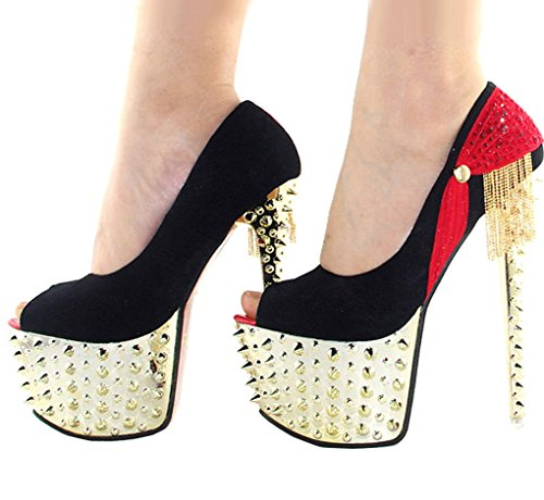 Getmorebeauty Women's Red Glitter Platform Rivet Stud Tassel High Heels 9 B(M) US
