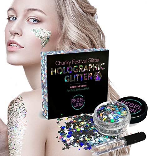- Body Glitter for Face, Body and Hair - Versatile Festival Accessories, Chunky Rave & Cosmetic Glitter - Includes Long Lasting Fix Gel