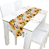 Yochoice Table Runner Home Decor, Vintage Grunge Yellow Sunflower Floral Table Cloth Runner Coffee Mat for Wedding Party Banquet Decoration 13 x 90 inches