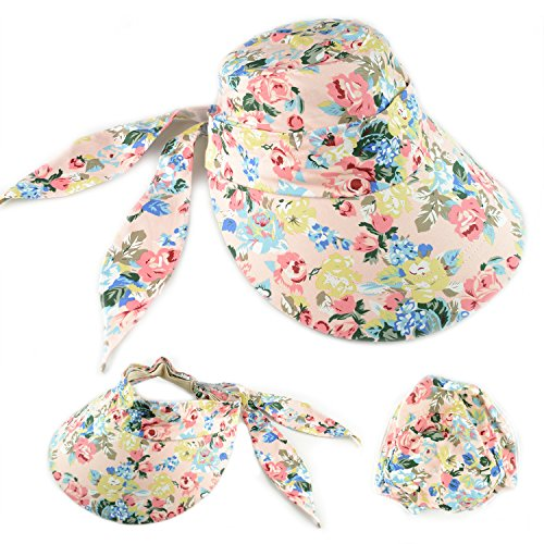 Lobeve Sun Hats Women Wide Brim Cap UV Protection 2 in 1 Summer Beach Visor-Rose - Visor Floral