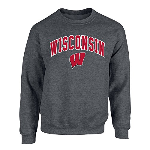 Elite Fan Shop NCAA Men's Wisconsin Badgers Crewneck Sweatshirt Dark Heather Arch Wisconsin Badgers Dark Heather ()