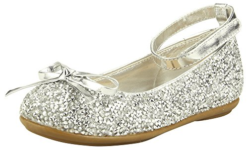 The Doll Maker Metallic Glitter Strap Flat Shoes-TD173022A-10 (Footwear Fabric Silver)