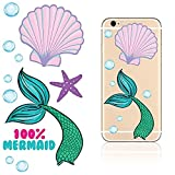 iDecoz MERMAID Reusable Vinyl Decal Sticker Skin For ALL Cell Phones and Cases iPhone 7 / 7 Plus / 6 / 6 Plus / 6S / 6S Plus / SE / 5S / 5C / 5 / Galaxy MacBook Laptop iPad Car Wall & More!