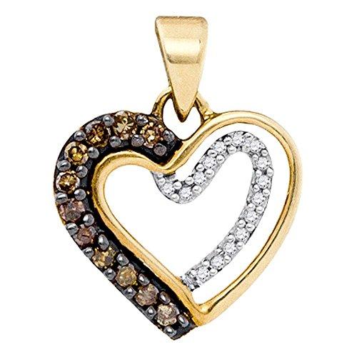 Sonia Jewels 10k Yellow Gold Round Chocolate Brown Diamond Heart Love Pendant (1/5 Cttw)
