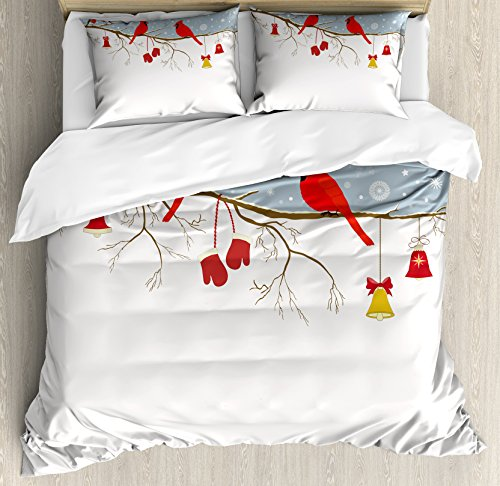 Lunarable Cardinal Duvet Cover Set, Colorful Christmas Illustration with Bullfinches and Hanging Ornaments and Mittens, Decorative 3 Piece Bedding Set with 2 Pillow Shams, Queen Size, Ruby Brown