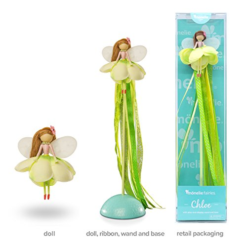 Mönelie Fairy Doll Set - Chloe (Includes a Doll, Ribbon Wand & Stand)