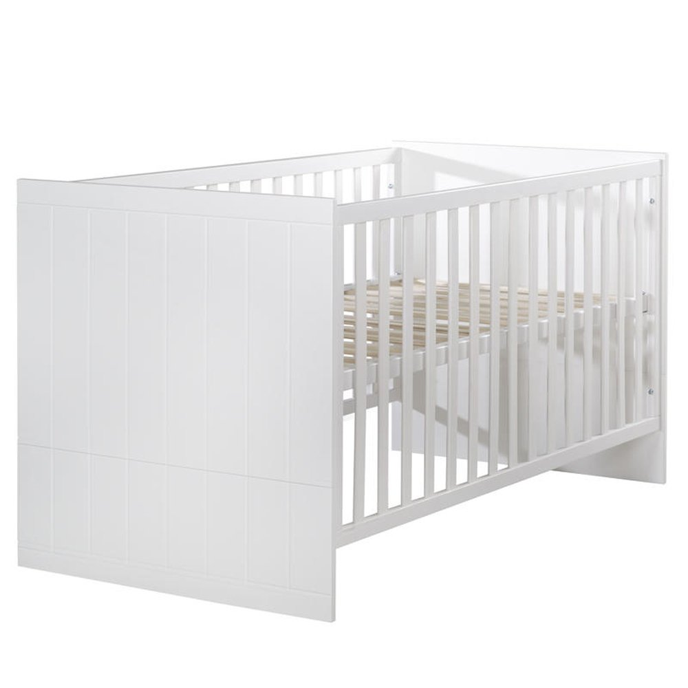roba 1911737 Babybett 'Lotte' 70 x 140 cm, Gitterbett 3-fach höhenverstellbar, inklusiv Lattenrost, Kombi-Kinderbett umbaubar zum Juniorbett, weiß