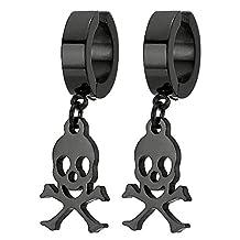 Pair Men Women Black Steel Clip On Huggie Hinged Hoop Earring with Pirate Skull Non-Piercing Earring