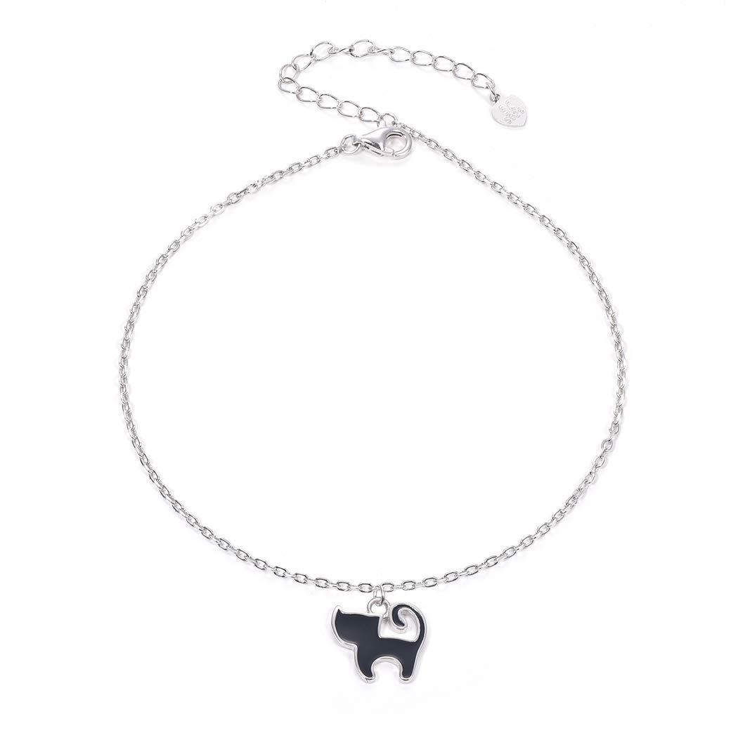 SILVERCUTE 925 Sterling Silver Anklets 1.5mm Rolo Chain Big Bracelet for Leg Cute Black Cat Charm Anklet, Length 22-27CM
