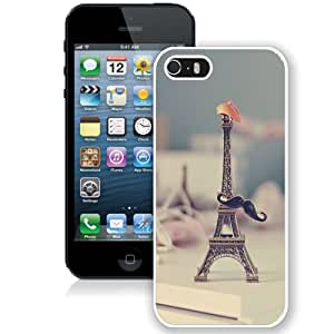 Fashion Custom Designed Cover Case For iPhone 5S Phone Case With Eiffel Tower Moustache Hat Miniature_White Phone Case