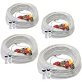 (4) Pack 100ft Pre-made All-in-One Video and Power BNC RCA Cable with BNC to RCA Connector for CCTV Security Camera System