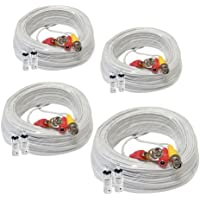 GW Security Inc GW100CAWx 4 Packs 100ft Pre-made All-in-One Video and Power BNC RCA Cable with BNC to RCA Connector for CCTV Security Camera System(White)