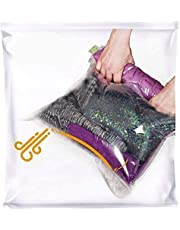 8 Travel Space Saver Bags - No Vacuum or Pump Needed - for Clothes - Reusable - Luggage Compression - Set of 4 L and 4 M Sacks