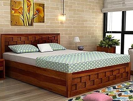 Bl Wood Furniture Sheesham Wood King Size Storage Bed For