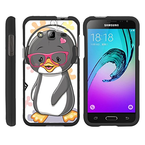 Duo Penguin (Compatible for Samsung Galaxy J3 Case | Amp Prime | Express Prime [Slim Duo] Hard Shell Snap On Case Fitted Protector on Black Ocean Beach Design by TurtleArmor - Cute Penguin)