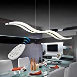 Modern Pendant Lighting White LED Pendant Light for Contemporary Living Dining Room Kitchen Island Dimmable Chandelier Dimming Ceiling Lamp Minimalist Wave Hanging Light Fixture with Remot