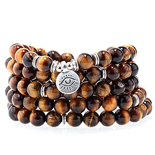 ZHEPIN 8MM Tiger Eye 108 Mala Beads Charm Bracelet for Men Women Yoga Bracelet Necklace