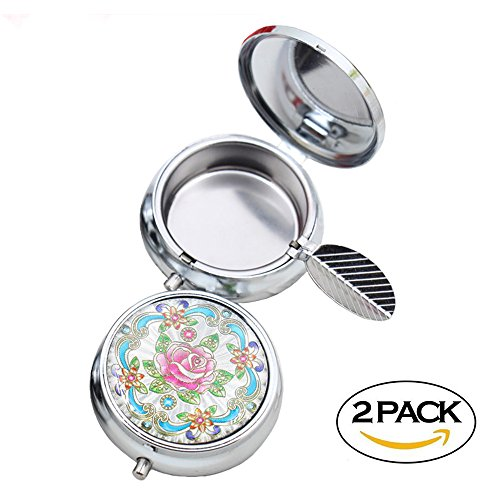 2pc Portable Pocket Ashtray/Vehicle Cigarette Ashtray, CRIVERS Mini Stainless Steel Ashtray with Key Chain and Cigarette Snuffer, Modern Ash Holder for Outdoor Use (Colored Pattern) (Keys Accents Stainless)