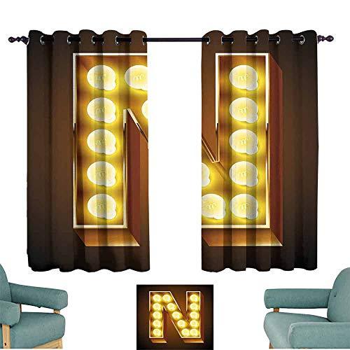 (HCCJLCKS Printed Curtain Letter N Language Alphabet Symbol Vegas Vintage Design Typography Art Inspiration Durable W63 xL72 Yellow Amber Black)