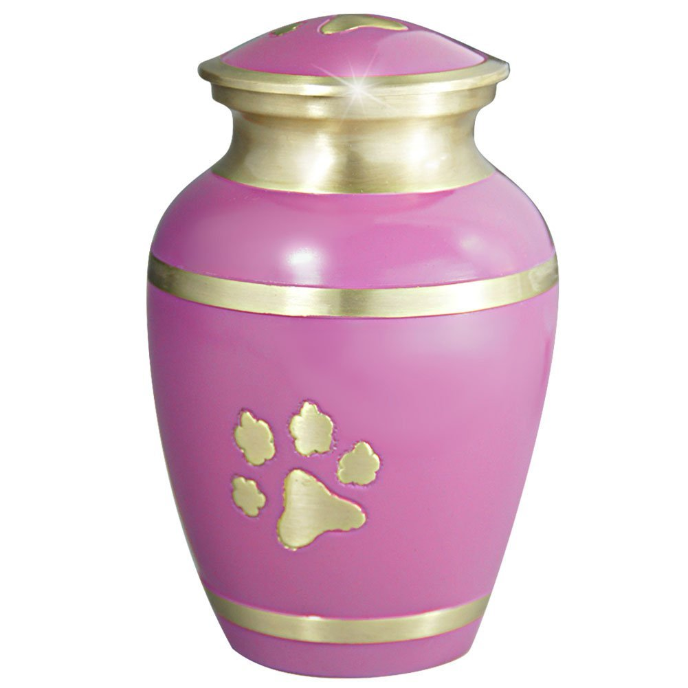meilinxu, PET Andenken Urns für Hunde Asche oder Cat Memorial–Verbrennung Urns für Katzen Asche–Hand Made in Messing und exquisite Hand emailliert–Funeral für Begräbnis Urns–(Pink mit Pfotenabdrücken, groß Urne)