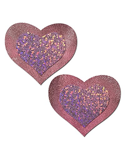 iHeartRaves Pink Blushing Heart Hologram Rave Pasties (Set of 2 Pasties)