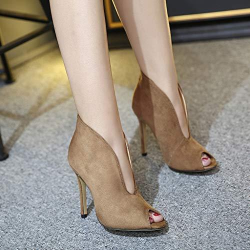 Sexy Fine Petits V Port À Hauts Moika Marron Sandales Femme Bouche Chaussures Antidérapante Poisson Talons c3q5L4RjA