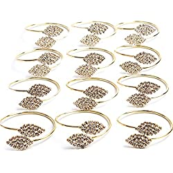 MINGLI Exquisite Household Napkin Rings Home Wedding Holiday Parties (Gold) Set of 12
