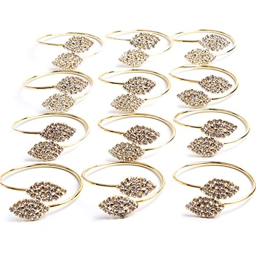 MINGLI Exquisite Household Napkin Rings for Home Wedding or Holiday Parties (Gold) Set of 12 ()