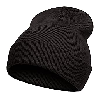 TopHeadwear Solid Color Long Beanie, Black