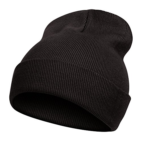 TopHeadwear Solid Color Long Beanie, Black (Solid Winter Beanie Long)