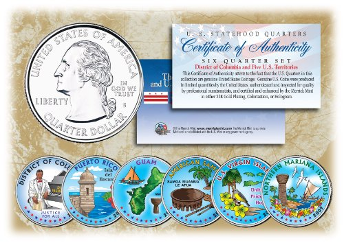 2009 DC & US TERRITORIES Quarters COLORIZED * 6-Coin Set * STATEHOOD w/Capsules ()