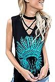 Farktop Women's Criss Cross V Neck Indian Headdress Printed Sleeveless Blouse T-shirt Tops