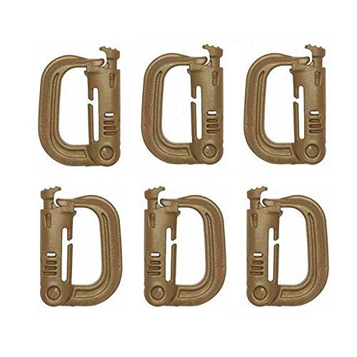 EKLORN 6 Pack Multipurpose D-Ring Grimloc Locking for Molle Webbing (Grimloc Carabiner)