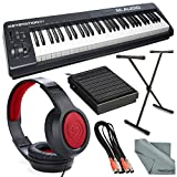 M-Audio Keystation 61 II MIDI Keyboard Controller and Platinum Bundle w/ Keyboard Sustain Pedal & Stand, Headphones, Dual MIDI Cable, Fibertique Cloth