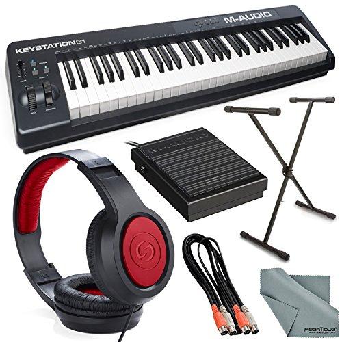 M-Audio Keystation 61 II MIDI Keyboard Controller and Platinum Bundle w/ Keyboard Sustain Pedal & Stand, Headphones, Dual MIDI Cable, Fibertique Cloth by Photo Savings