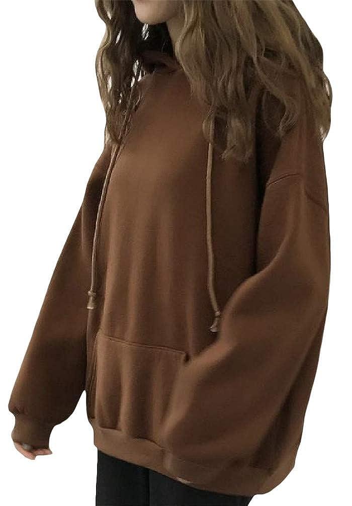 Lutratocro Womens Pocket Fleece Thicken Drawstring Casual Pullover Hooded Sweatshirts