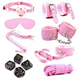 Poison Pear- 7pcs Leather Bound Underwear Bikini Dress Set with 4 Funny Dice (Pink)