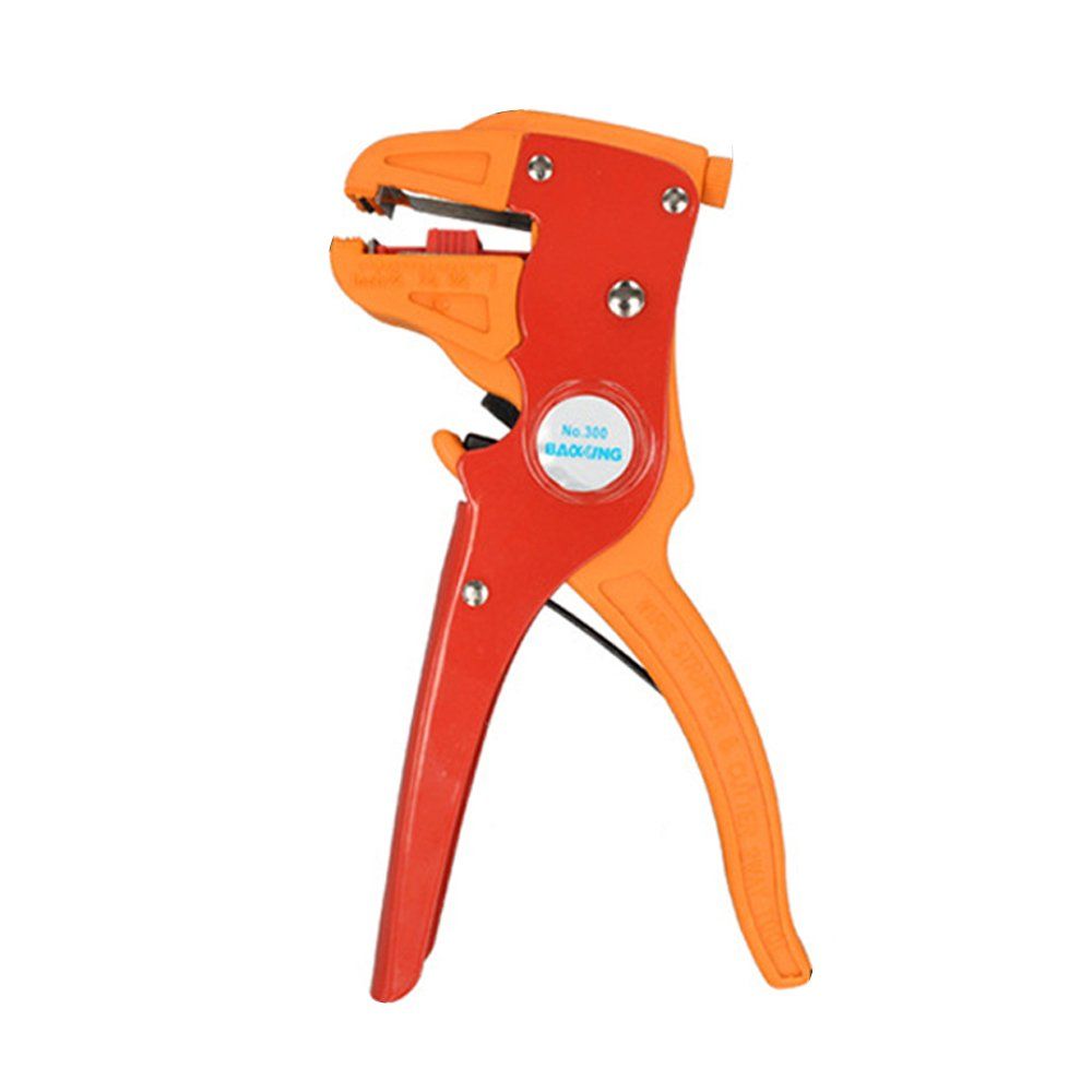 Adjustable Wire Stripper Cutter, Handheld Stripping Plier - Red + Orange