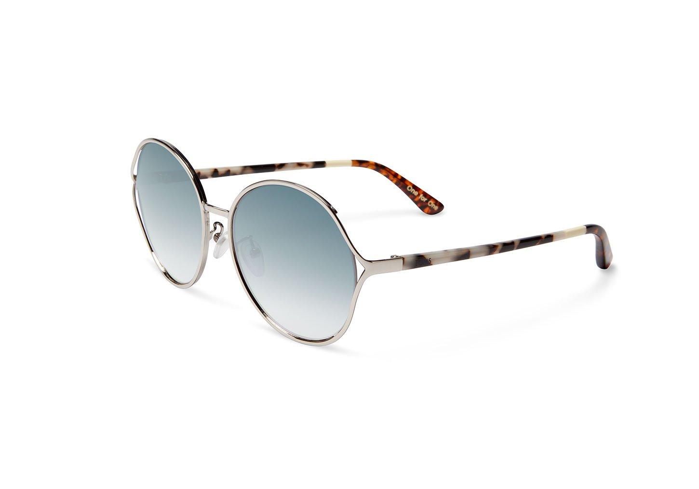 TOMS Sunglasses BLYTHE (Shiny Silver / Blue Borwn Grad, ONE SIZE)