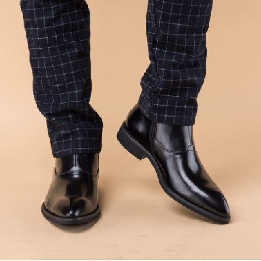 XINGF Schwarze, Schwarze Spitze Schuhe Der Männer, Flache Flache Flache Martinstiefel, Lässige Businessstiefeletten, Seitliche Reißverschlüsse Für Herren 883c1a