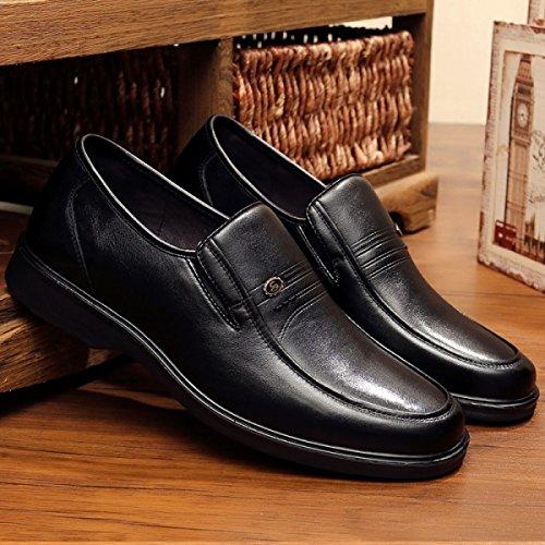 GRRONG Zapatos De Cuero De Los Hombres De Negocios De Ocio Traje De Etiqueta Negro Black