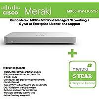 Cisco Meraki MX65-HW Cloud Mngd Sec. Appliance + 5yr of Ente. Lic. and Supp.